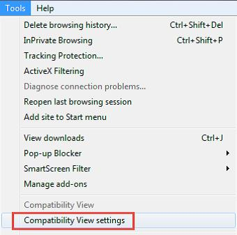internet explorer tools compatibility view settings window screenshot