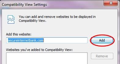 compatibility view settings window screenshot
