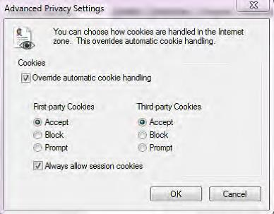internet advanced privacy settings cookies window screenshot