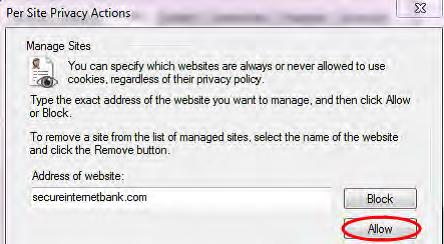 per site privacy actions window screenshot
